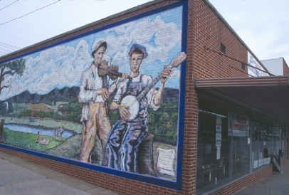 New River Traditions mural in downtown West Jefferson